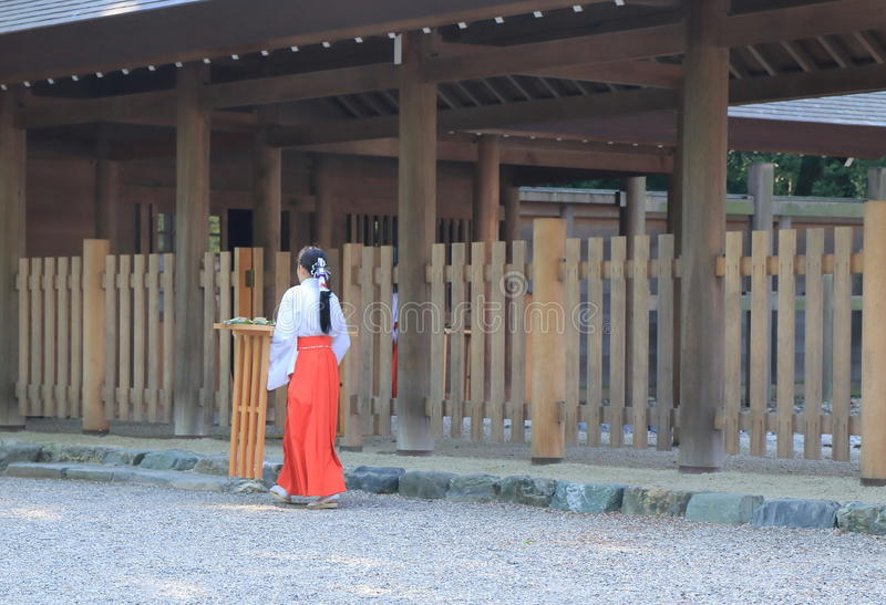 Japanese traditional lifestyle Miko royalty free stock photography