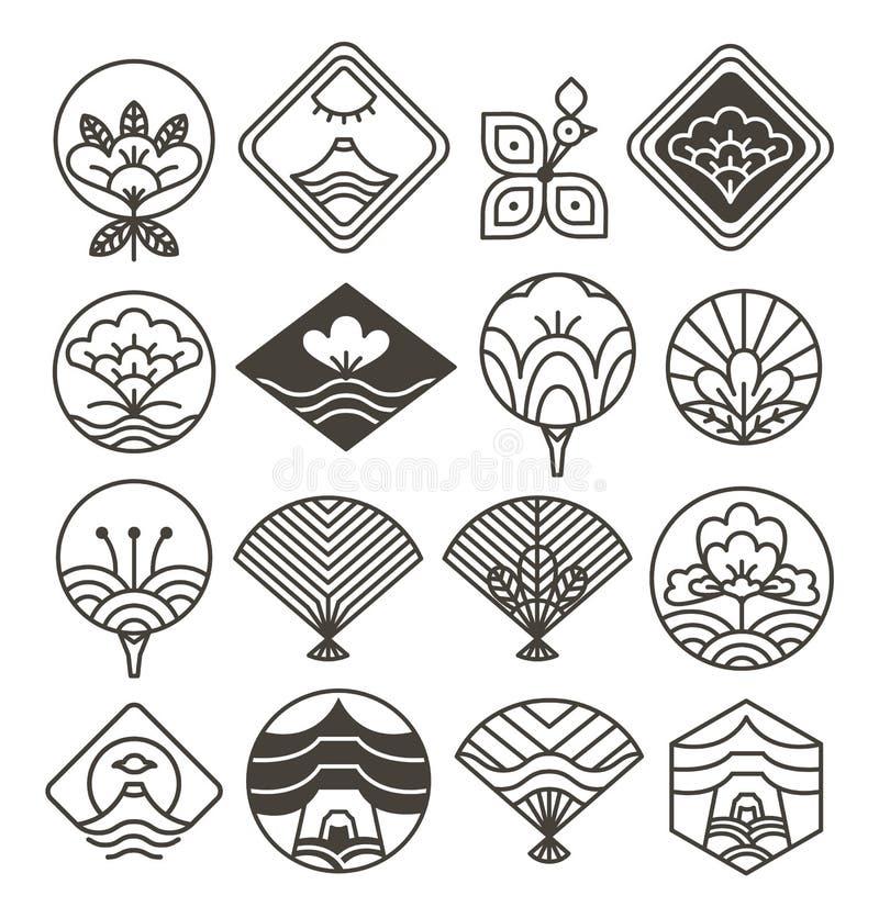 Japanese Monochrome Icons Set with Ethnic Motifs stock illustration