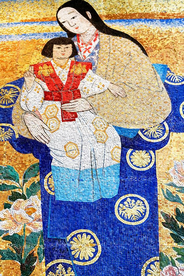 Japanese mosaic of Madonna and Child, in the upper level chapel of the church, the Basilica of the Annunciation, Nazareth stock image