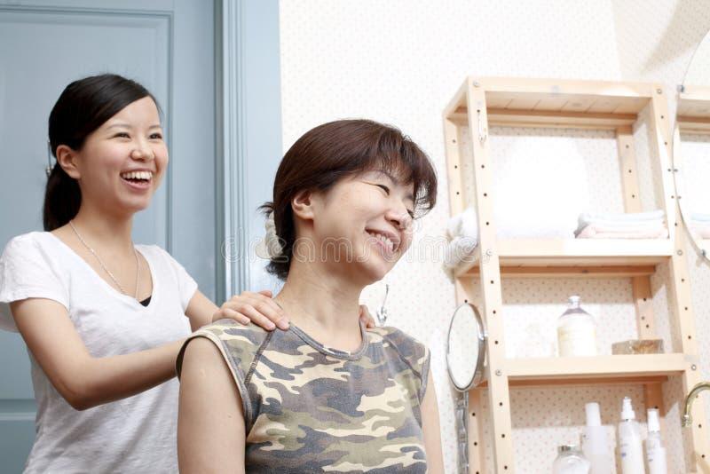 Japanese mother daughter massage