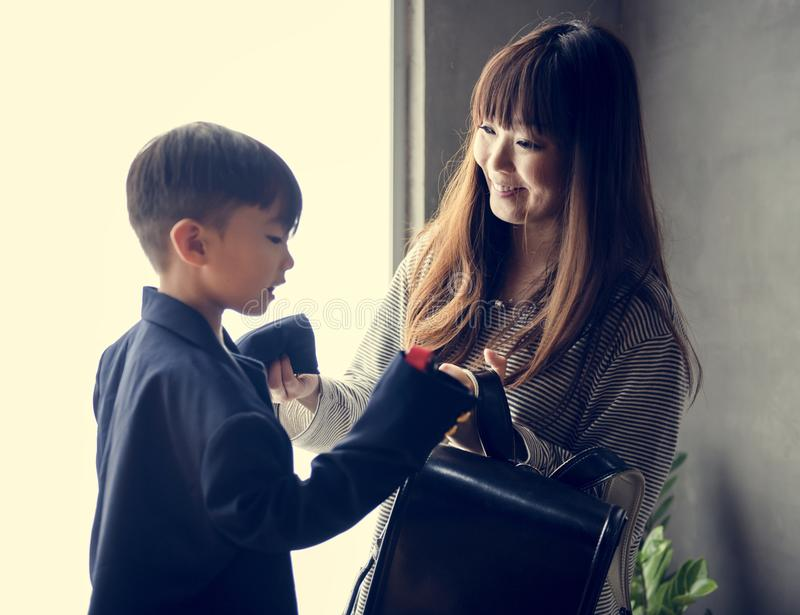 Japanese mother and son having fun time stock images