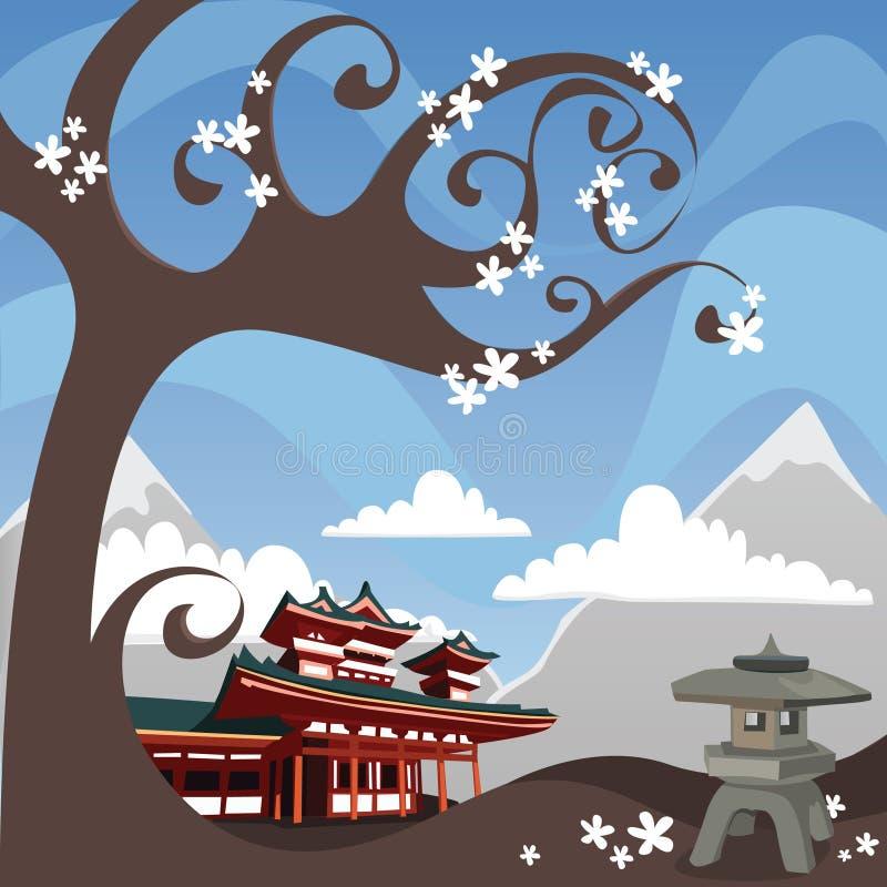 Japanese mountain scene royalty free illustration