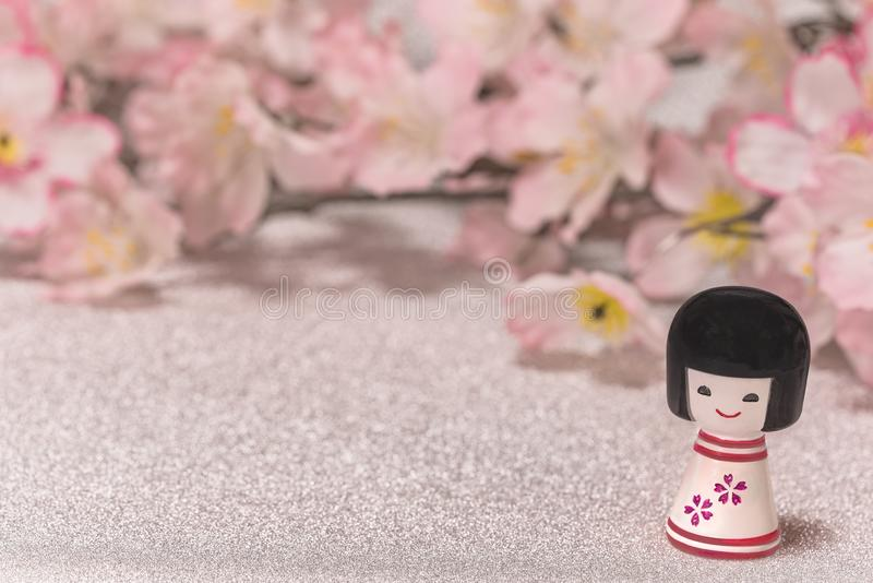 Japanese New Year`s Cards with little doll Kokeshi with flower p royalty free stock photos