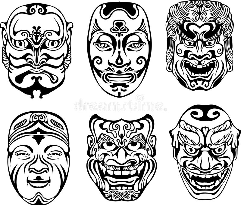 Japanese Nogaku Theatrical Masks. Set of black and white vector illustrations vector illustration