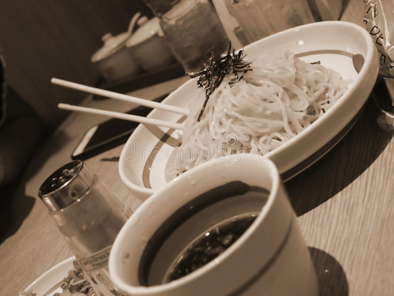 Japanese noodle in dish. royalty free stock photo