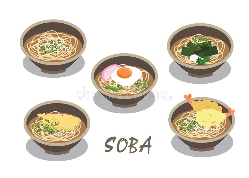 The Japanese noodle soup in bowls vector on white background. The many Soba is traditional food of Japan have egg seaweed and shrimp tempura in bowls on white vector illustration