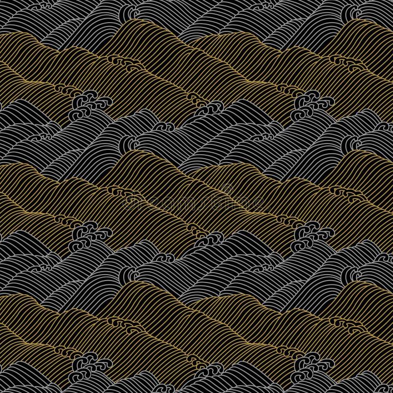 Japanese ocean wave vintage pattern royalty free illustration