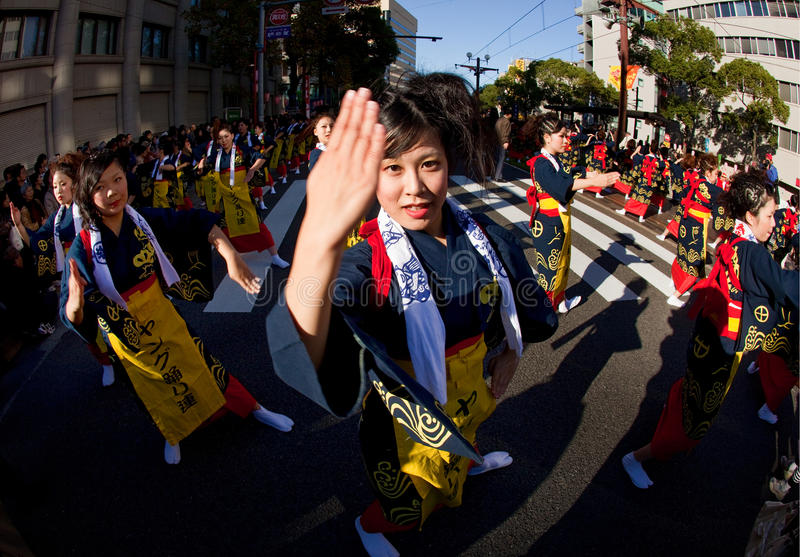Japanese Ohara Festival Dancers royalty free stock photo