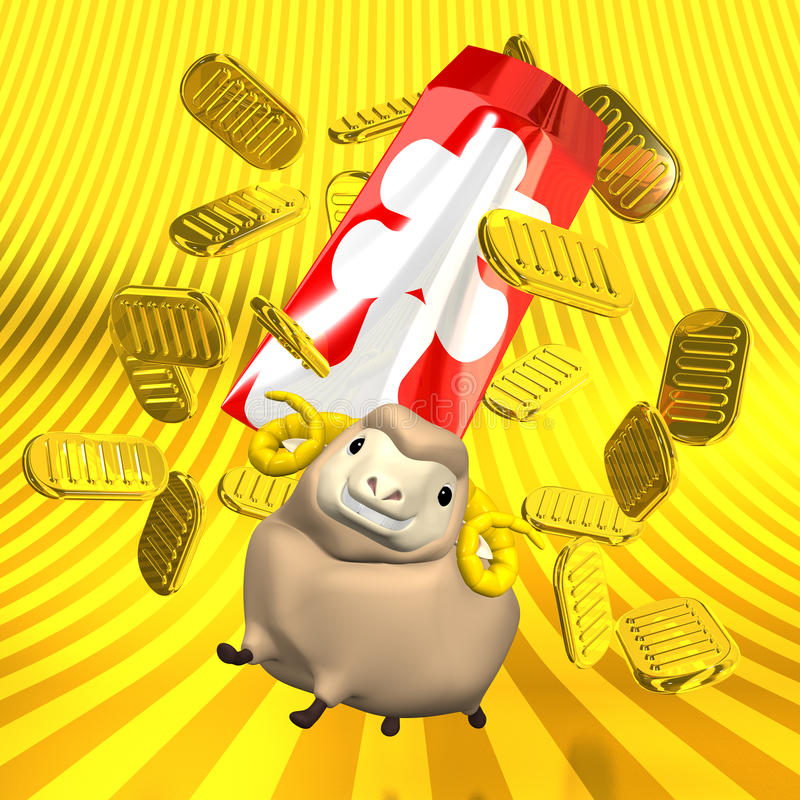 Japanese Old Coins And Sheep On Golden Background. 3D render illustration For The Year Of The Sheep,2015. Isolated On Golden Background vector illustration