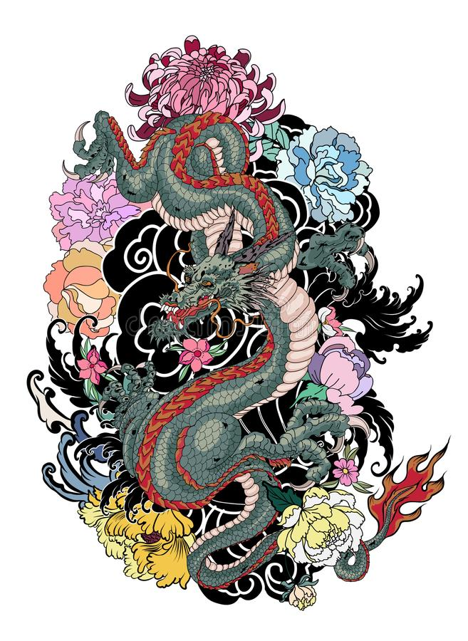 Japanese old dragon tattoo for arm. royalty free illustration