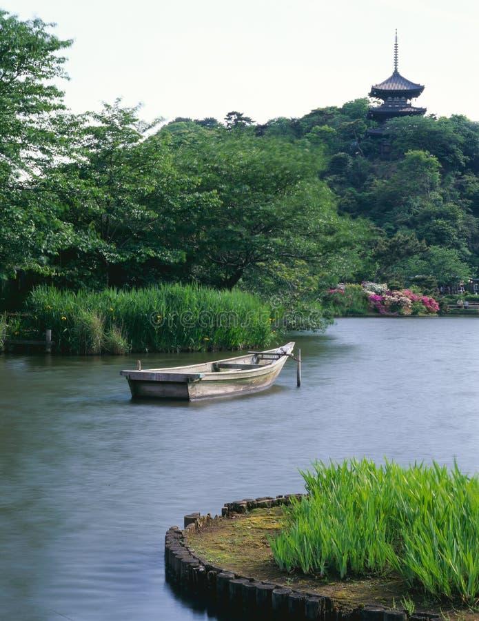 Japanese old garden. In spring morning at Kanagawa Yokohama Sankei-en park stock image