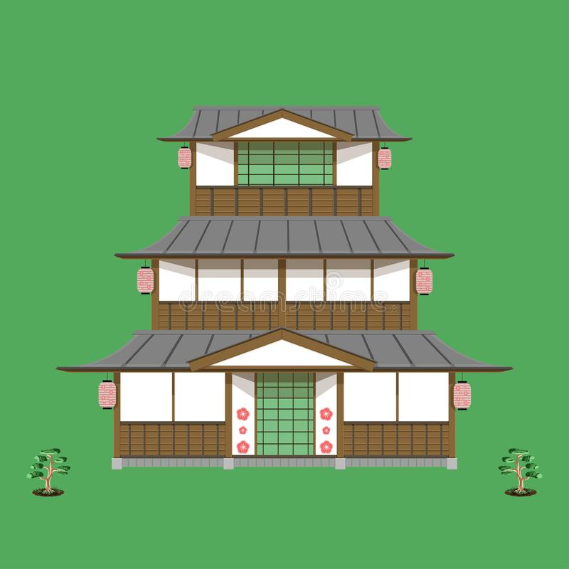 Japanese old home three floor front view vector green no sign you can download now becuase it is beautiful illustration eps10 royalty free illustration