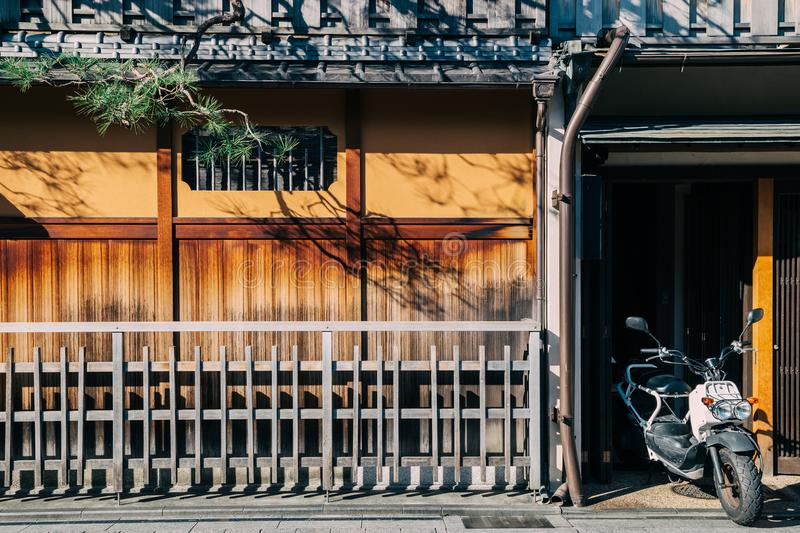 Japanese traditional wooden house in Gion street, Kyoto royalty free stock images