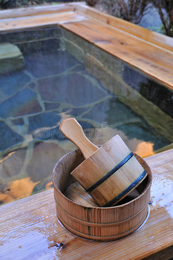 Japanese open air spa onsen stock photo