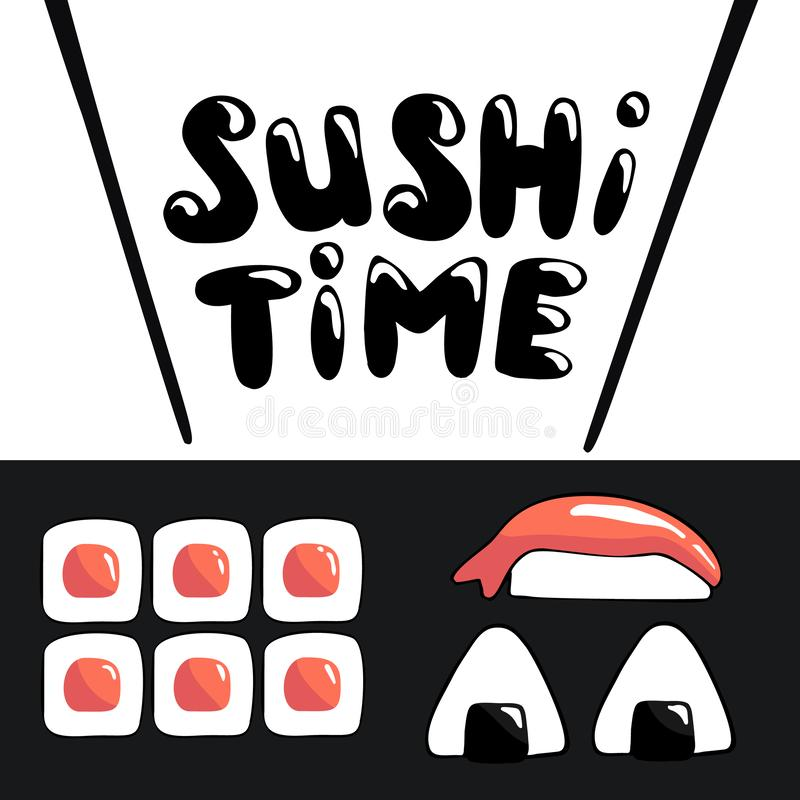 Sushi time cartoon banner template with lettering royalty free illustration