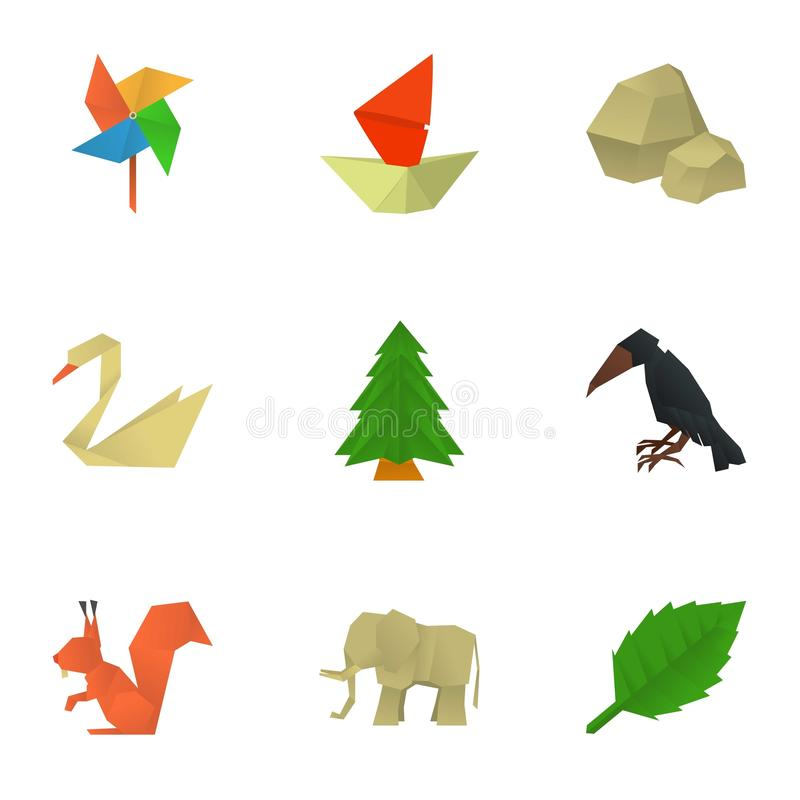 Japanese origami icons set, cartoon style. Japanese origami icons set. Cartoon set of 9 japanese origami vector icons for web isolated on white background vector illustration