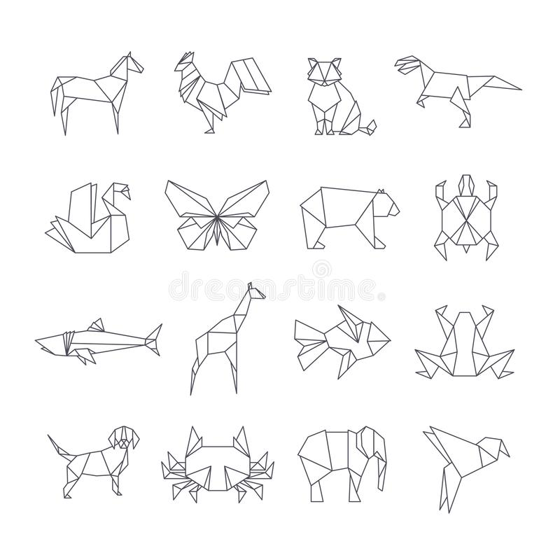 Japanese origami paper animals vector line icons vector illustration