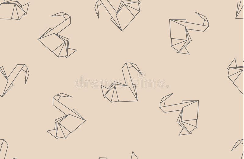 Japanese origami paper cranes seamless pattern. royalty free illustration