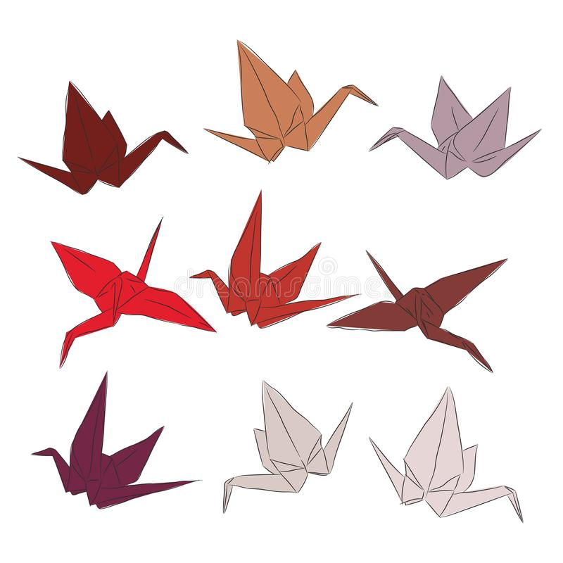 Japanese Origami paper cranes set orange red white pink, symbol of happiness, luck and longevity, sketch. orange red brown isolate. D on white background. Vector royalty free illustration