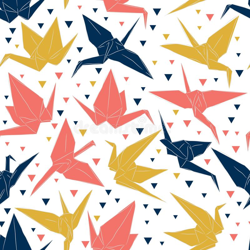 Japanese Origami paper cranes sketch seamless pattern, symbol of happiness, luck and longevity, blue coral mustard yellow on white. Background. Can be used for vector illustration