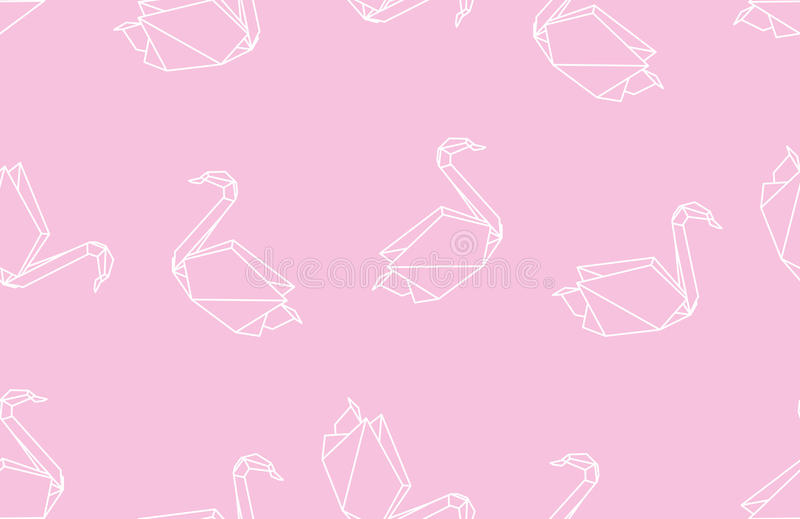 Japanese origami swan seamless linear pattern on pink background stock illustration