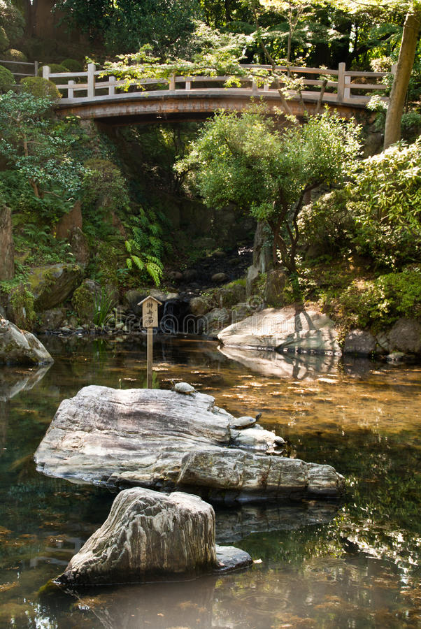 Download Japanese Ornamental Pond With Bridge Stock Photo - Image of japanese, gardening: 16760684