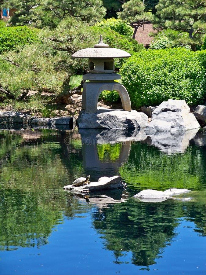 Japanese pagoda at Denver botanical gardens royalty free stock photo