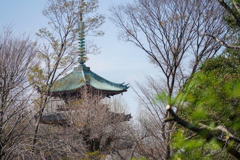 Japanese Pagoda in Ueno park, Tokyo,Japan stock photography