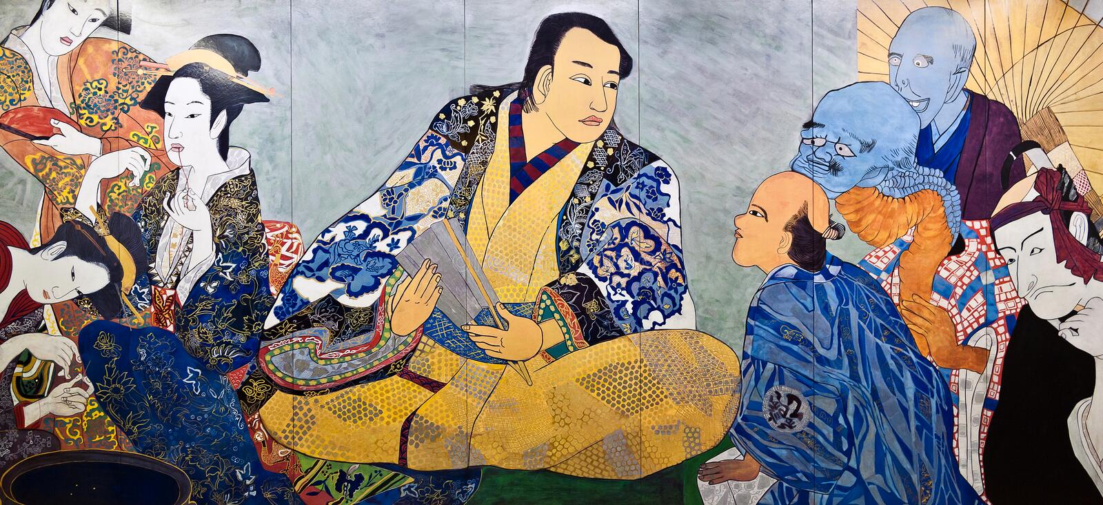 Japanese painting ukiyo-e. Japanese painting of some peoples in the marketplace. Ukiyo-e is a genre of japanese woodblock prints and paintings produced between