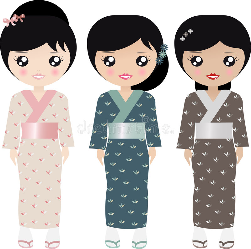 Japanese Paper Doll stock illustration