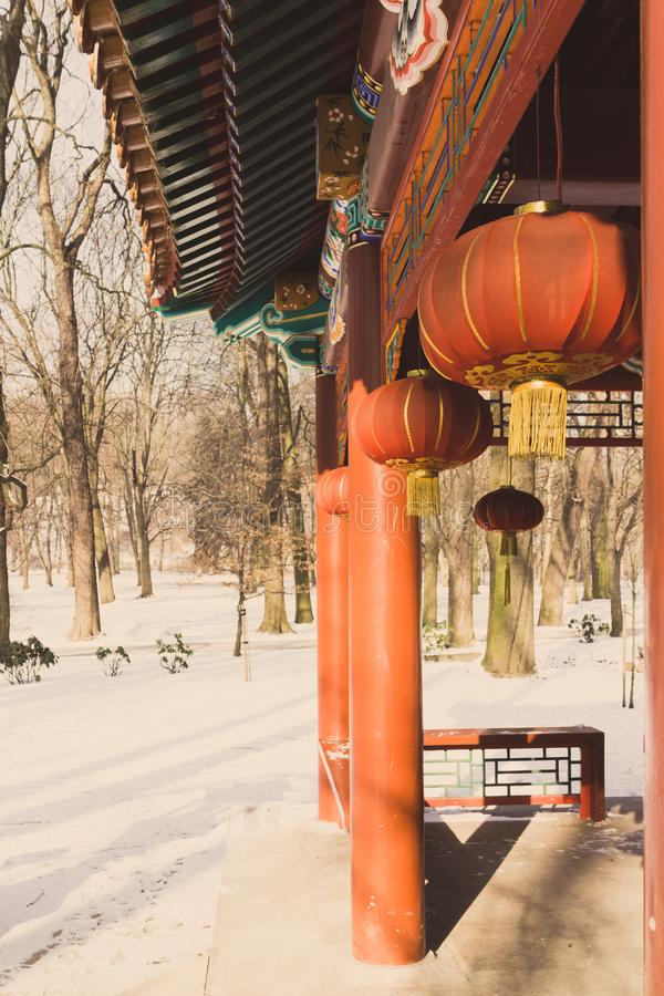 Japanese paper lanterns in a temple in the winter royalty free stock image