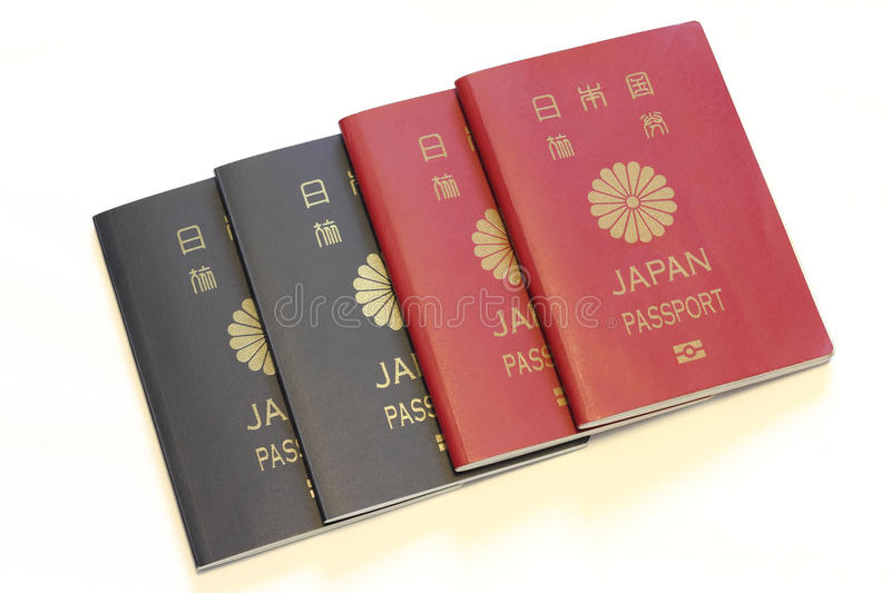 Japanese passports. (red and blue royalty free stock images