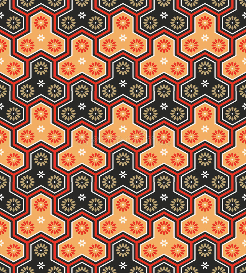 Japanese pattern. Classic japanese seamless pattern in bright warm colors