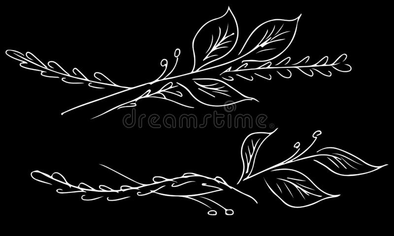 Japanese pattern. Set floral illustration. Doodle sketch style. Drawing engraving. Spring blossom. Linear art. Floral style border. Floral branches hand vector illustration