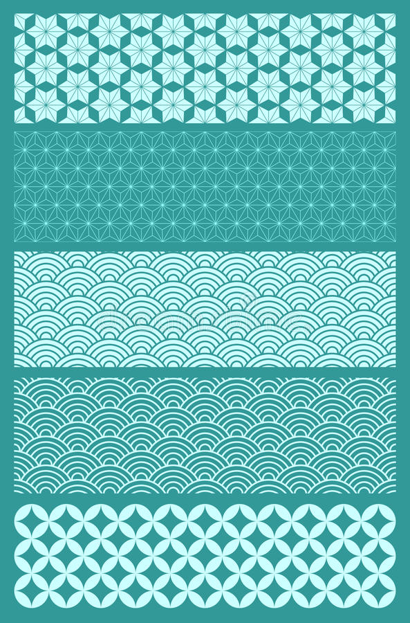 Japanese Patterns. A set of five Japanese seamless patterns. Background placed on a separate layer so color can be altered with ease vector illustration