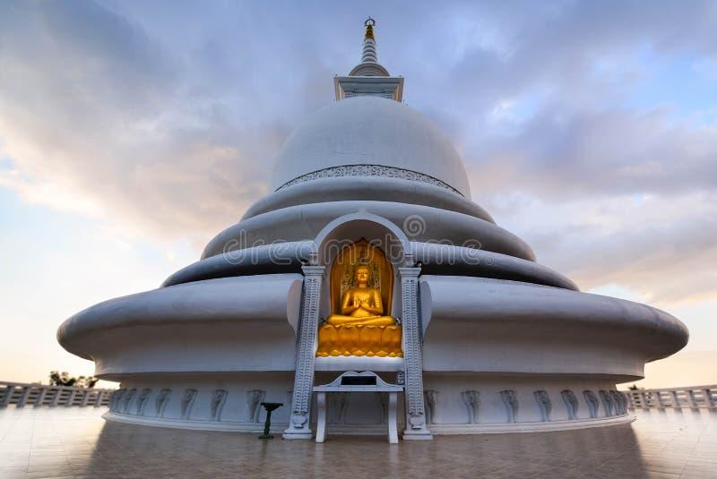 Japanese Peace Pagoda In Rumassala, Sri Lanka. The Japanese Peace Pagoda Near Unawatuna Is A Beautiful Shrine With Amazing Views Across Indian Ocean And Galle stock photography