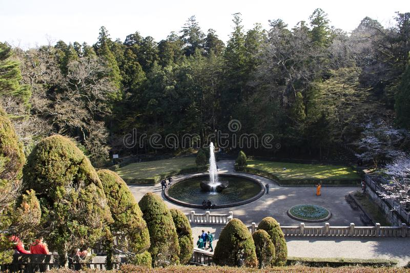 Japanese and foreigner travelers visit relax play at fountain in Naritasan plum garden of Narita park at Chiba in Tokyo, Japan stock image