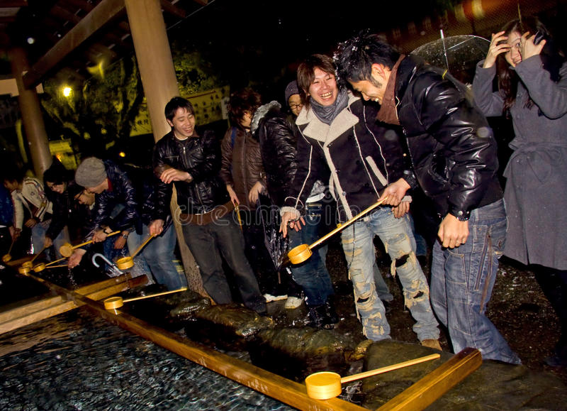 Japanese people new year eve purification