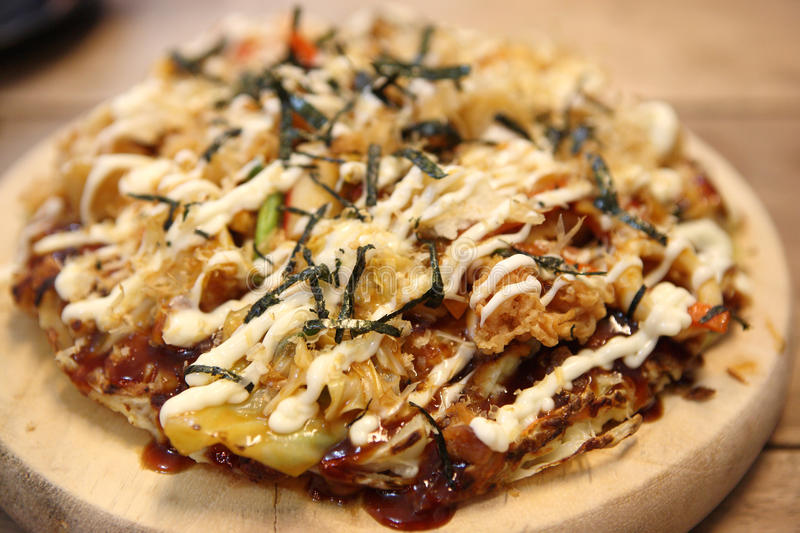 Japanese pizza okonomiyaki royalty free stock photos