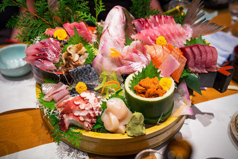 Japanese plate of sashimi. With raw seafood royalty free stock photos