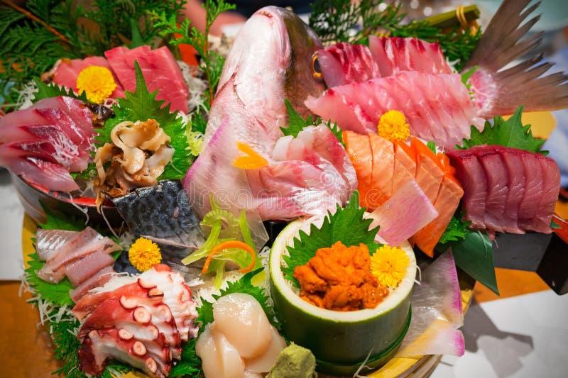 Japanese plate of sashimi stock image
