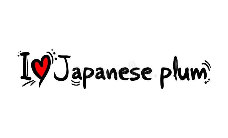 Japanese plum fruit love message vector illustration