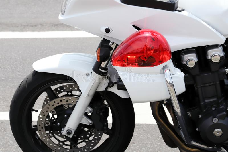 Japanese police motorcycle. Close up of Japanese police motorcycle royalty free stock photography