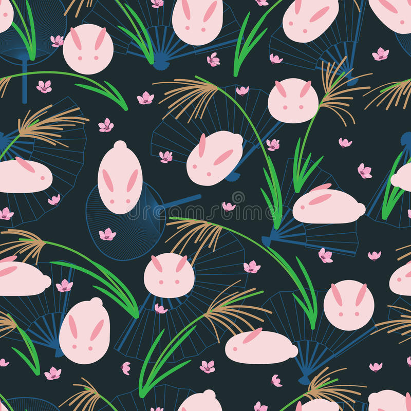 Japanese rabbit glasses seamless pattern stock photo
