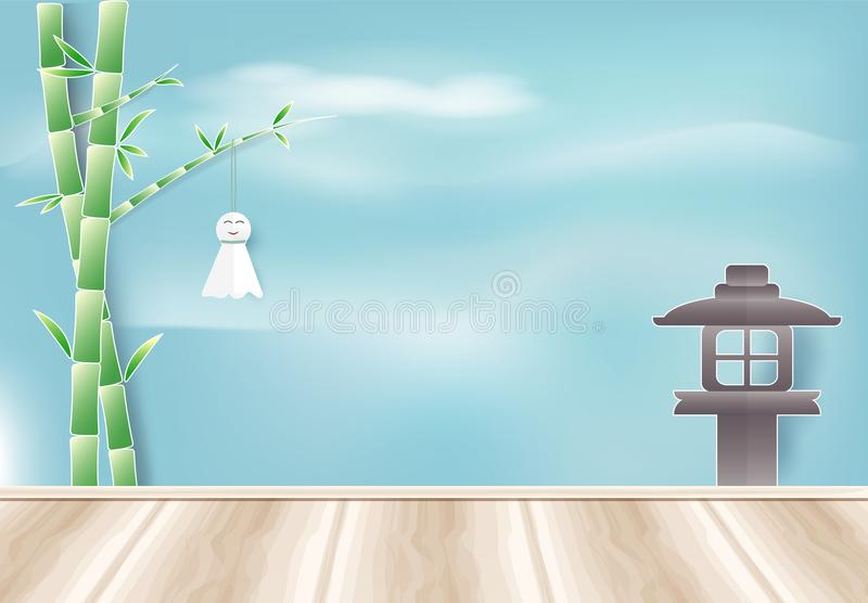 Japanese rain doll hanging on bamboo branch. Paper cut, Paper a stock illustration