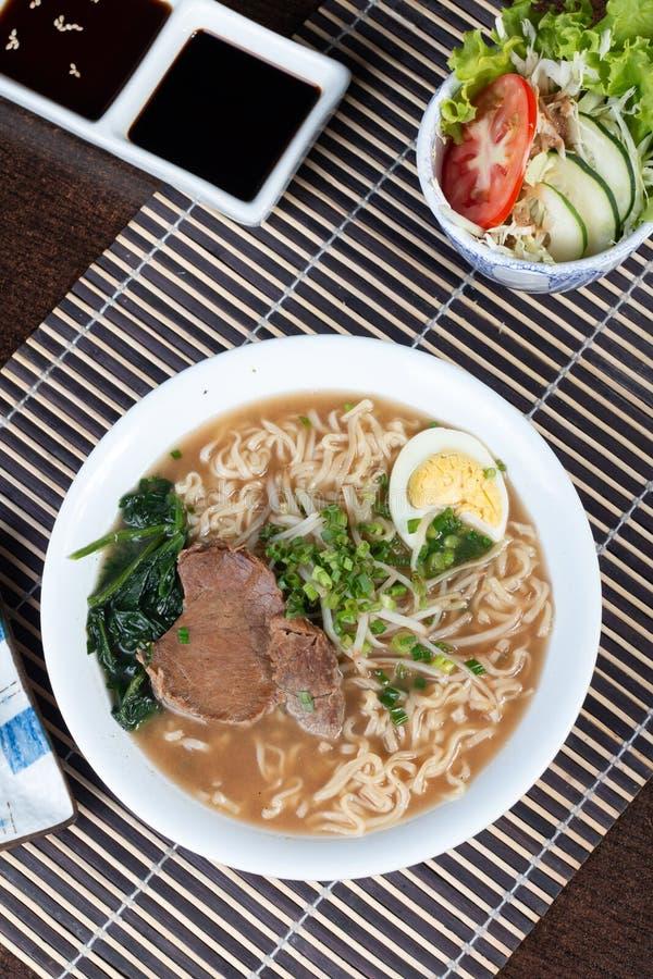 Japanese ramen soup with chicken stock photos