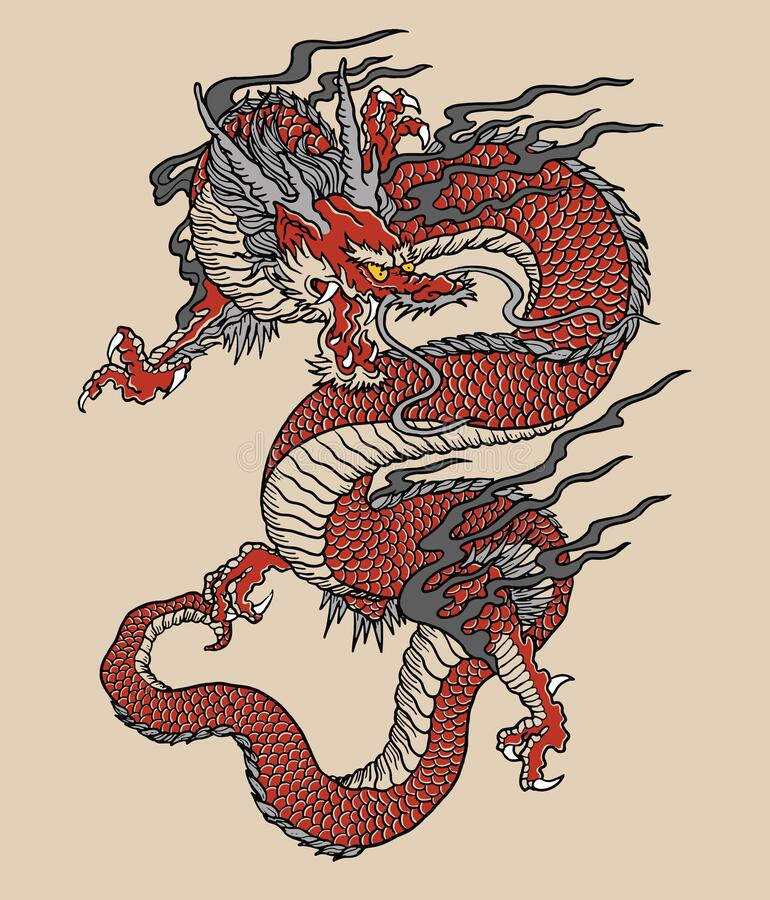 Free Japanese Red Dragon Tattoo Illustration. Full Color Vector Art. Royalty Free Stock Photo - 170788645