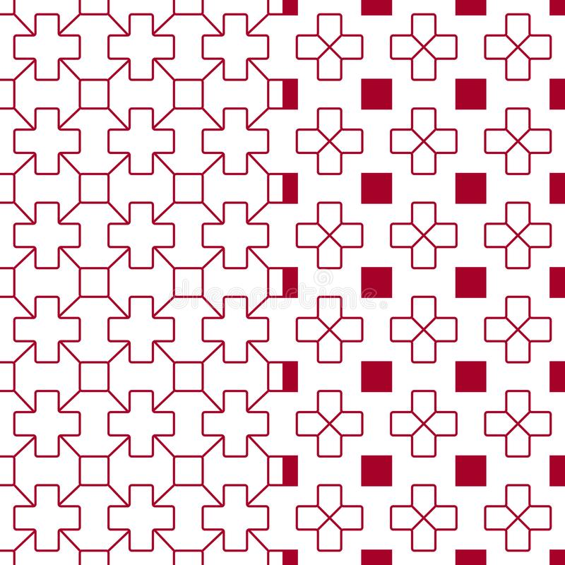 Japanese red quilting pattern stock illustration