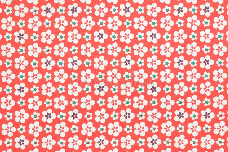 Japanese Red White Cherry Blossom Pattern Vintage Paper Texture Background