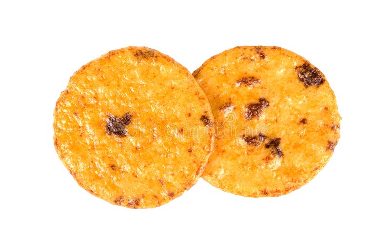 Japanese rice biscuit cracker isolated on  white background royalty free stock photos